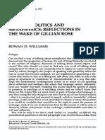 Politics and Metaphysics Gillian Rose