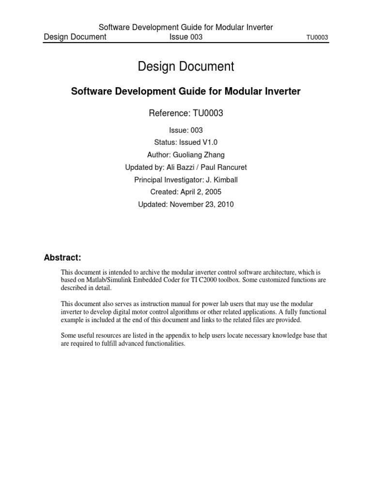 Design Document: Software Development Guide for Modular Inverter