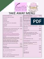cafe vanilla takeaway menu 2014