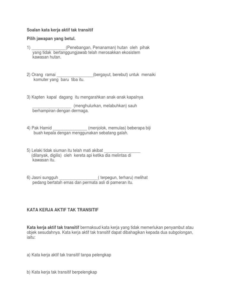Latihan Kata Kerja Aktif Tak Transitif