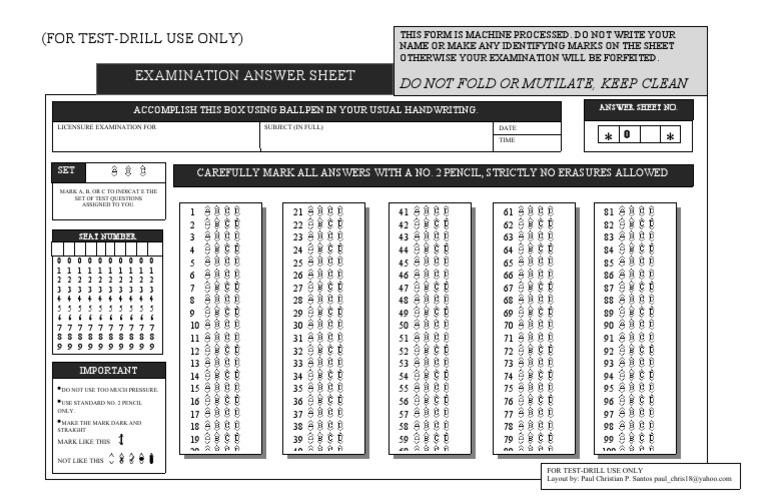 Test-Drill Examination Answer Sheet   Qualifications   Nursing