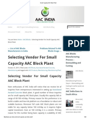 Small Capacity AAC Block Plant | Automation | Labour Economics