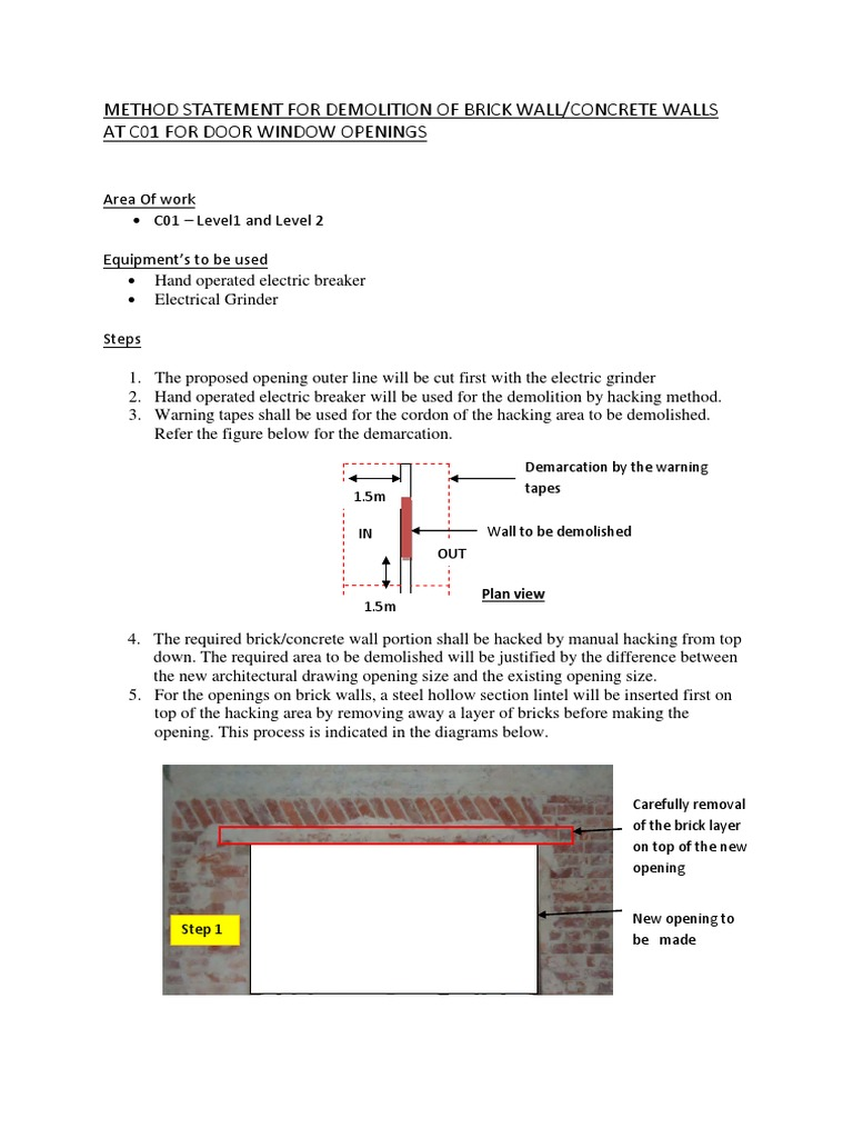 Method Statement for Demolition of Brick Concrete Walls at c01 for ...