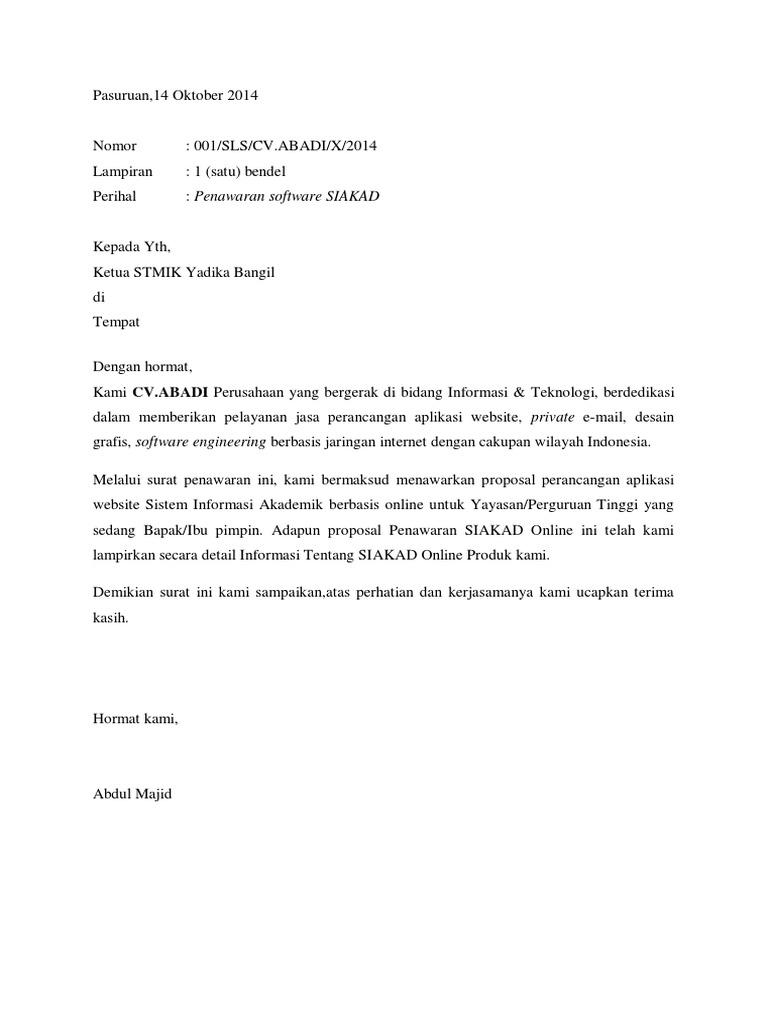 Contoh Surat Full Block Style Penawaran Barang Guru Paud