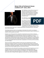 report on pasi sahlberg talk