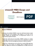 INSEAD MBA Essays and Deadlines