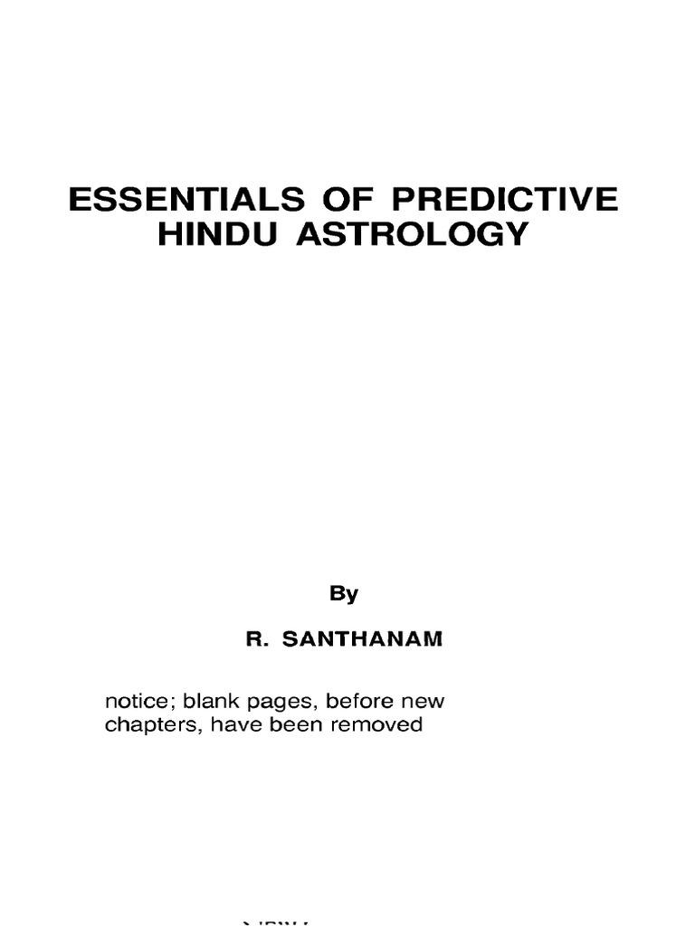jyotish essentials of predictive hindu astrology r santhanam