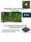 Purpose and Function of the CPU