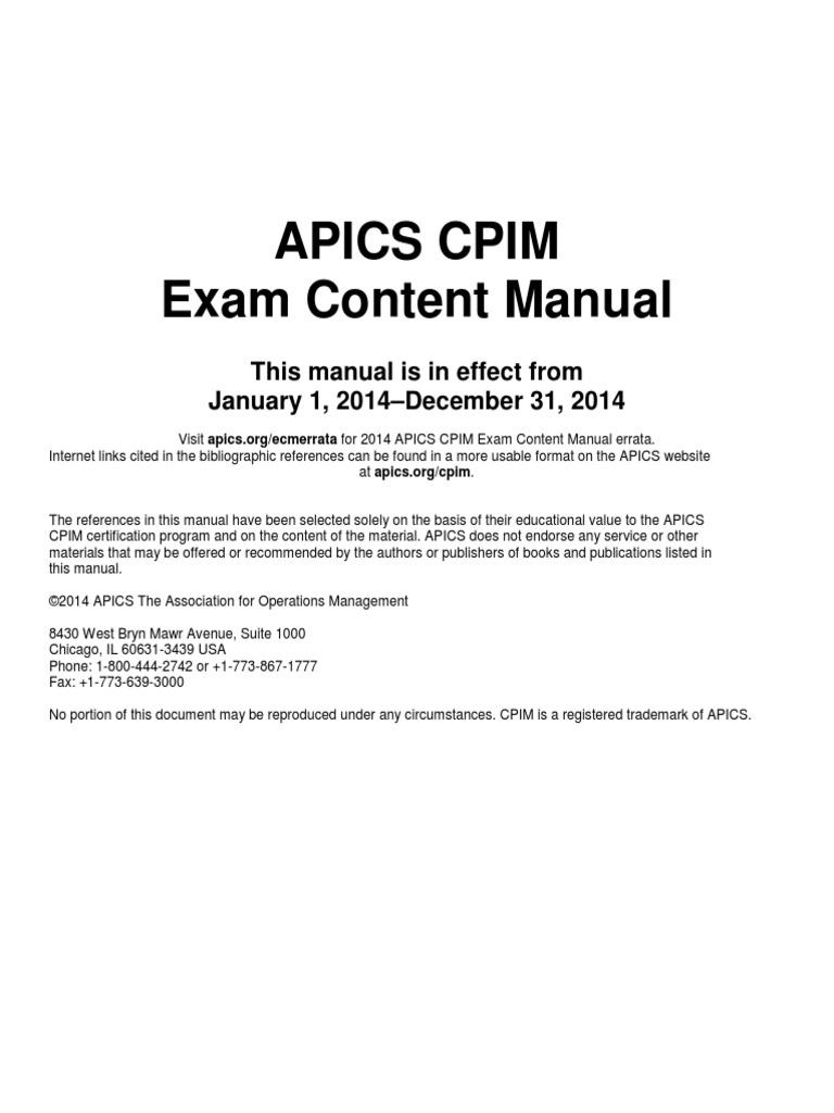 exam content manual pdf supply chain management strategic management rh scribd com APICS CPIM Modules APICS CPIM MPC