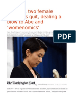 In Japan, Two Female Ministers Quit, Dealing a Blow to Abe and 'Womenomics'