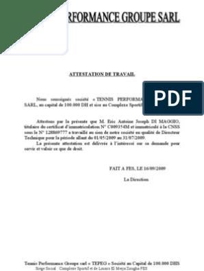 Certificat De Travail Et Attestation De Travail Pdf - Template Exemple de Lettre