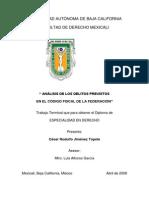 ¨Análisis de los delitos previstos en el código fiscal de la federación¨ - Especialidad - César Rodulfo Jiménez Topete