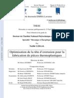 Optimisation de la tête d'extrusion pour la fabrication de pièces thermoplastiques.pdf