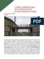 Italcementi Fabbrica Di Veleni Condanna e Maxi Risarcimento Sentenza Storica Al Tribunale Di Foggia