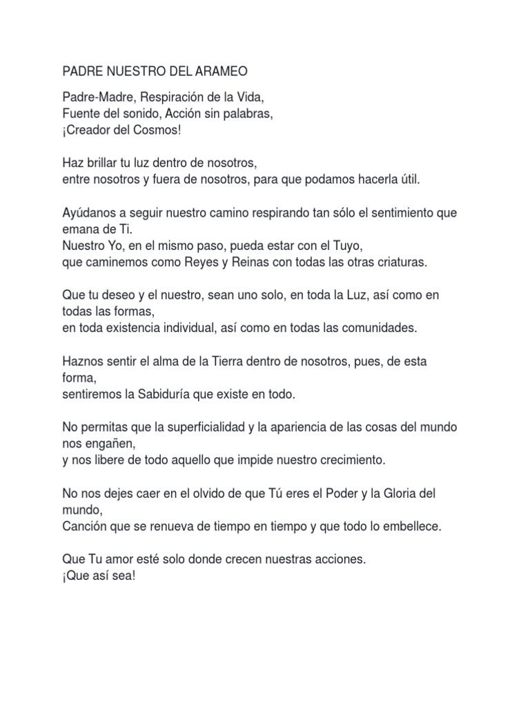 Padre Nuestro Original Traducido Del Arameo