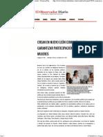 10-10-14 CREAN EN NUEVO LEÓN COMISIÓN PARA GARANTIZAR PARTICIPACIÓN POLÍTICA DE LAS MUJERES