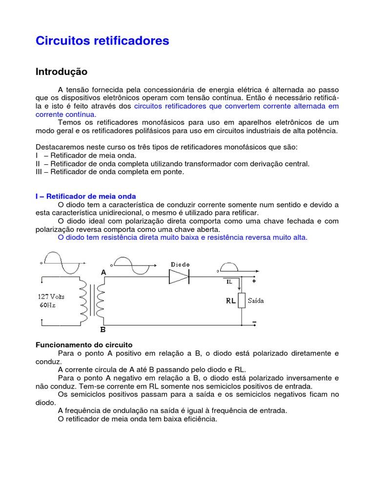 Circuito Retificador : Circuitos retificadores pdf