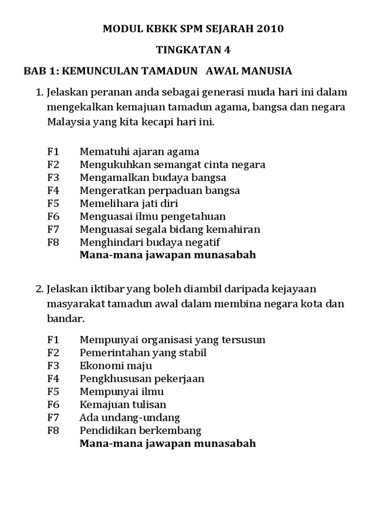 Modul Kbkk Sejarah Spm 2010