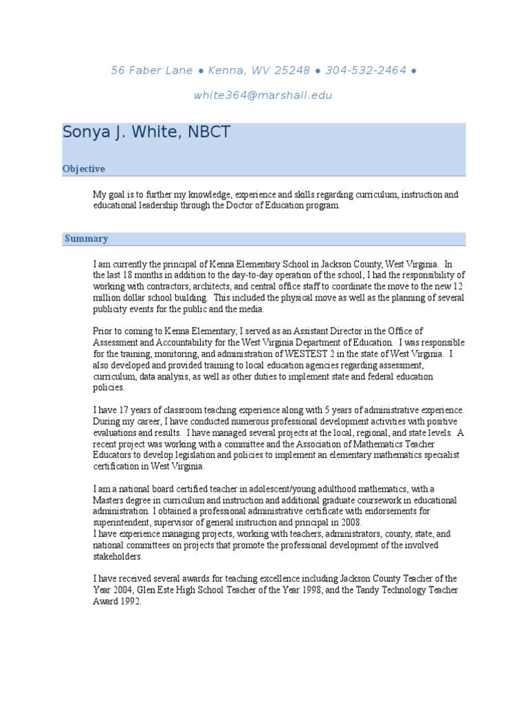 Sonya White Resume Oct 2014 Teachers Educational Assessment