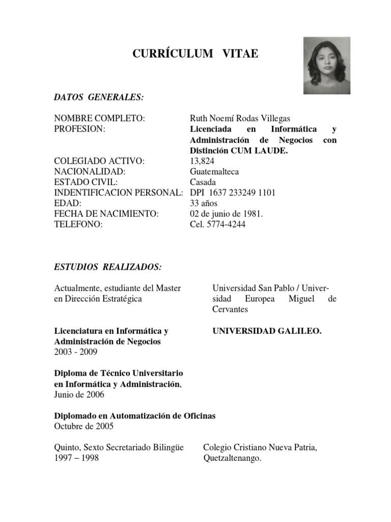 Atractivo Analista De Negocios Curriculum Vitae Formato Doc ...