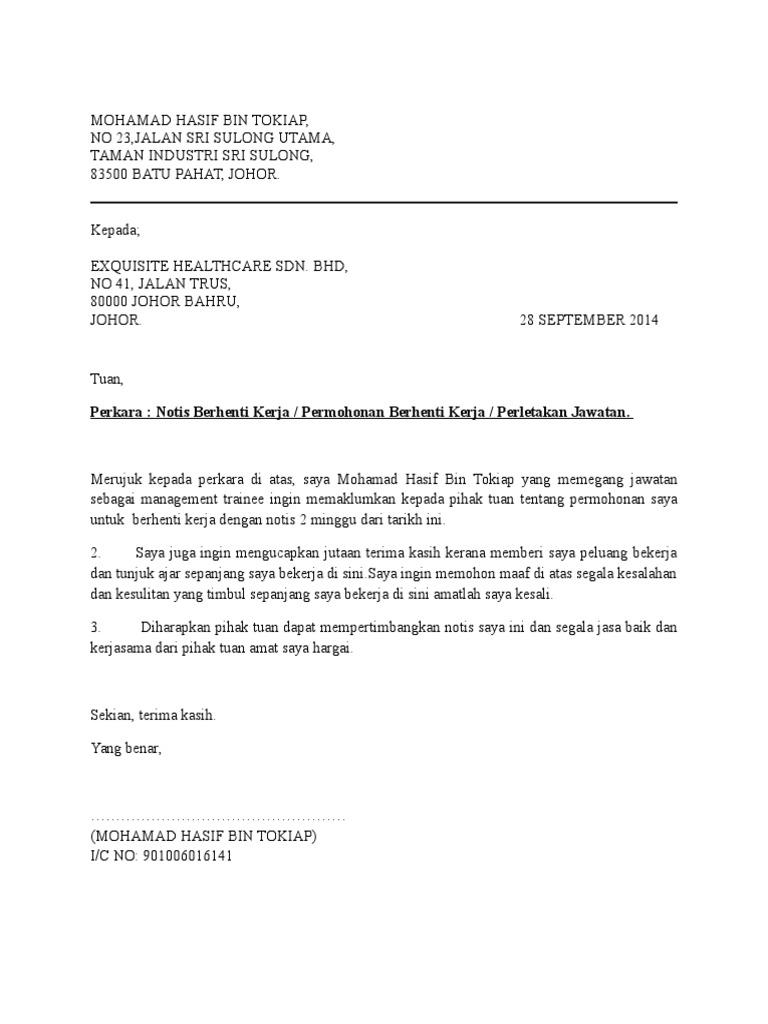 Contoh Notis Surat Berhenti Kerja Dan Juga Perletakan Jawatan 2