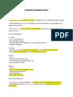 Psychology- Intelligence Notes