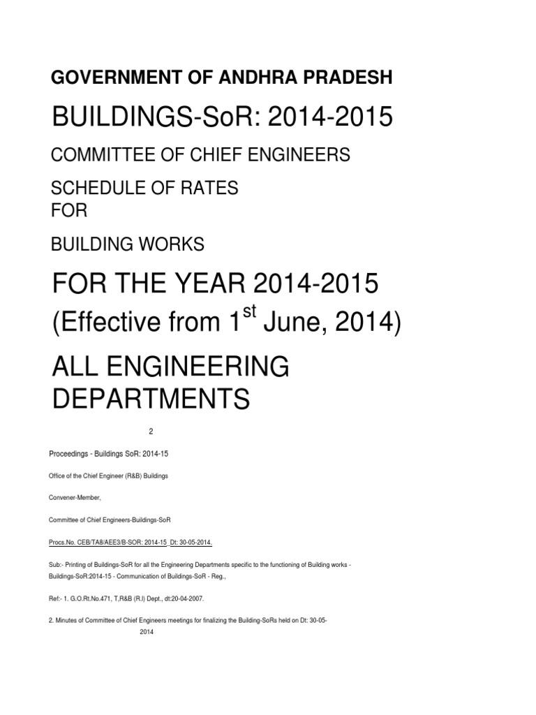 Buildings Sor 201415  Scaffolding  Specification (technical Standard)