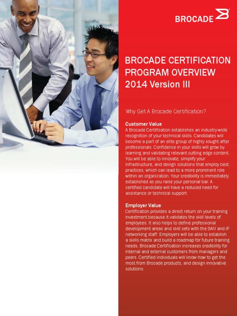 Brocade Certification Program Overview 2014 Version Iii