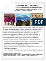 Tanzania Travel Course Flyer Honors