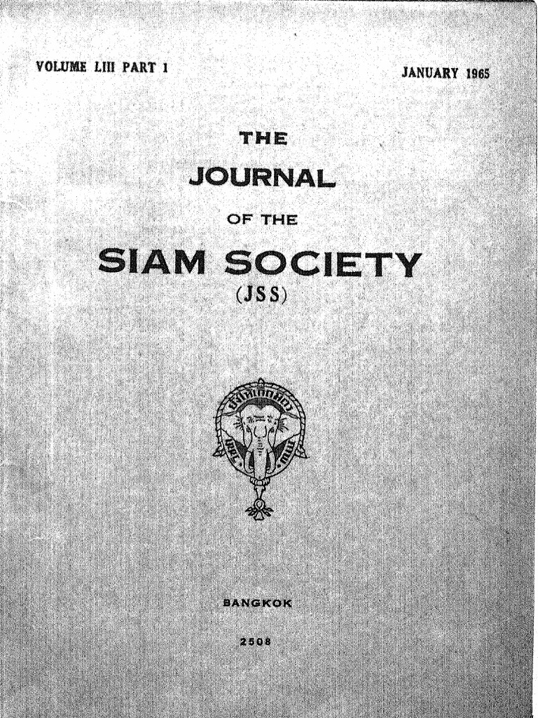 The Journal of the Siam Society Vol. Liii Part 1-2-1965 | Vault ...