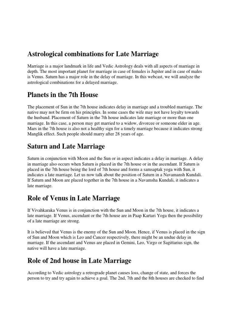 Astrological combinations for Late Marriage