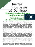 Hoja informativa Encuentro Junt@s tras los pasos de Domingo