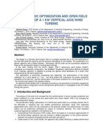 Aerodynamic Optimization and Open Field Testing of a 1 KW Vertical-Axis Wind Turbine