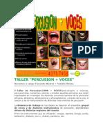 ESCUELA EUMA - NUEVO TALLER DE PERCUSIÓN - PERCUSIÓN + VOCES - Curso de verano 2010