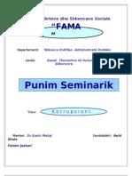 Punim Seminarik- korrupsioni