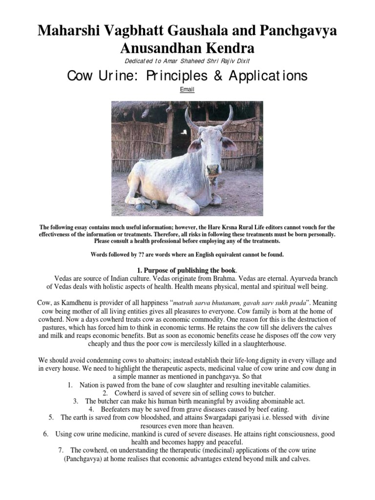 Cow Urine Principles U0026 Applications | Urine | Ayurveda