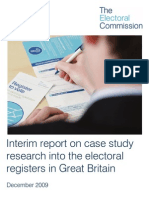 Interim report on case studies looking at accuracy of the electoral registers of Great Britain