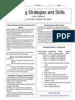 u2w5 reading skills and strategies