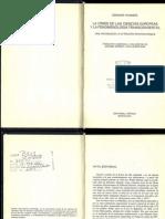 Edmund Husserl - La Crisis de las ciencias europeas y la fenomenología trascendental