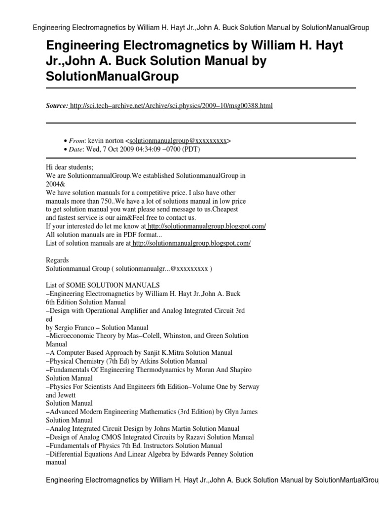 engineering electromagnetics hayt 5th edition solution manual