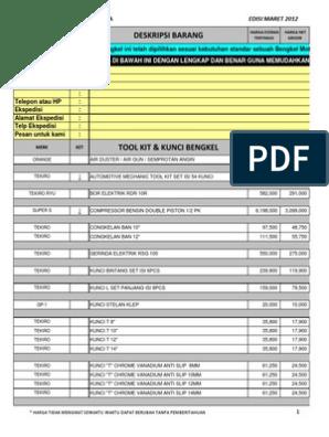 Daftar Harga Alat Bengkel