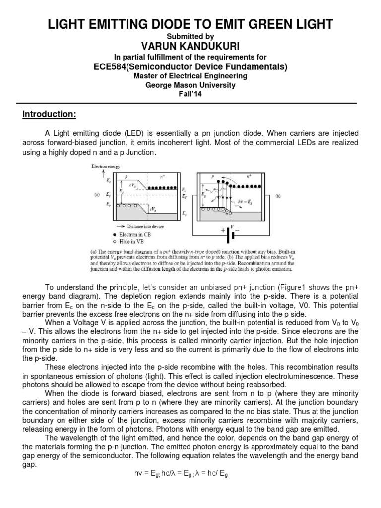 Light Emitting Diode To Emit Green Pn Junction Band Gap Diagram