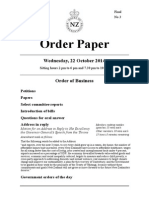 Final Order Paper for New Zealand Parliament sitting Wednesday 22 October 2014