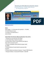 Workshop Internet Marketing dan SEO  Jakarta November 2014