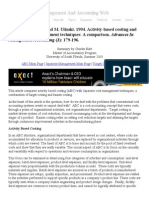 A Comparison of Activity-Based Costing & Japanese Cost Management