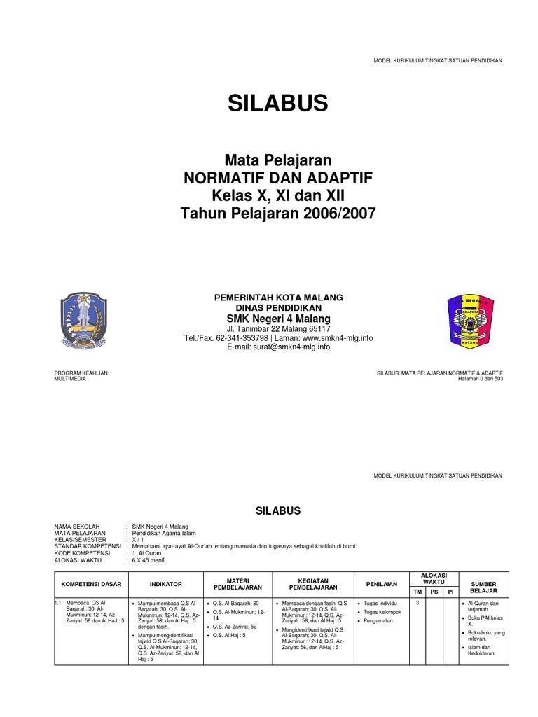 Silabus smk normatif adaptif ccuart Choice Image
