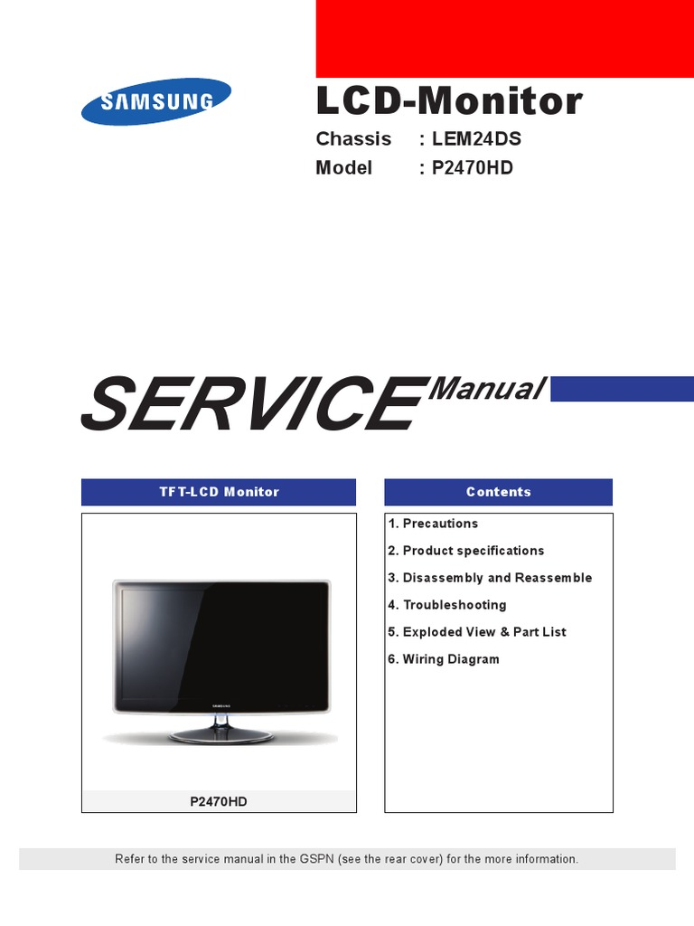 samsung p2470hd service manual en electrostatic discharge rh scribd com samsung crt tv service manual pdf samsung 21 crt tv service manual