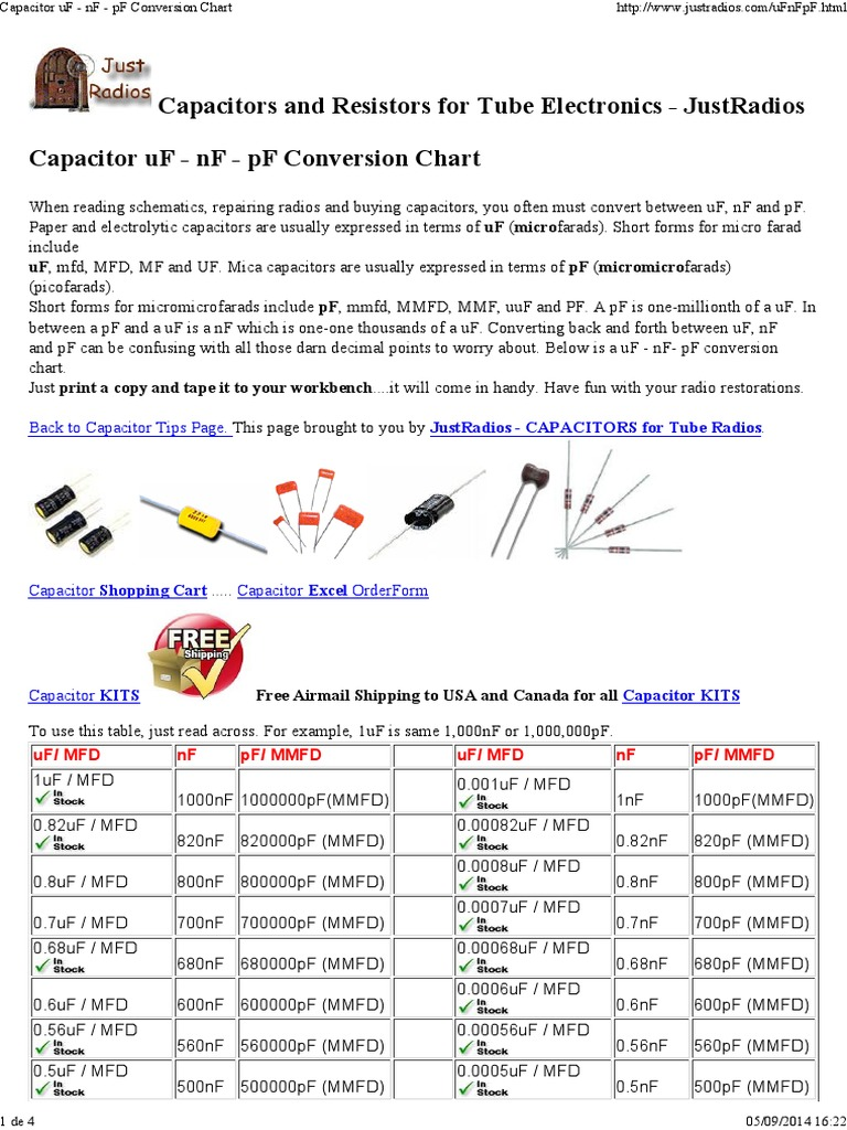 Capacitor uf nf pf conversion chart pdf capacitor capacitance