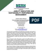 SUSTAINABILITY INDICATORS AND SUSTAINABILITY PERFORMANCE MANAGEMENT