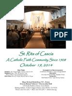 St. Rita Parish Bulletin 10/19/2014